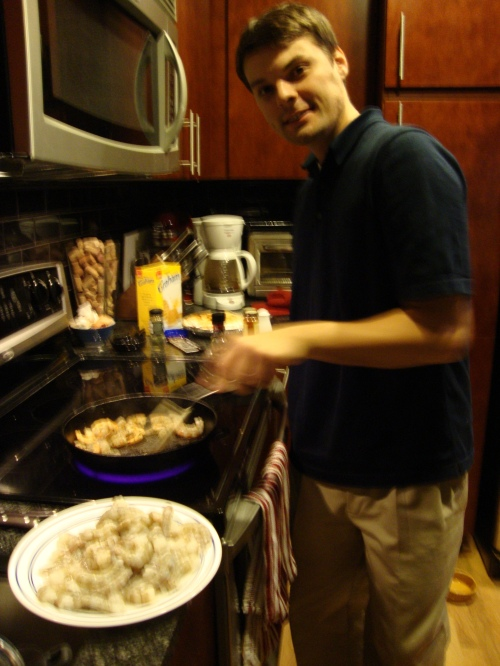 Brad cooking shrimp